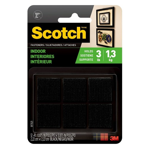 Scotch Fasteners Black Squares 12-ct.