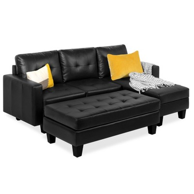 Best Choice Products 3-Seat L-Shape Tufted Faux Leather Sectional Sofa Couch Set w/ Chaise Lounge	Ottoman Bench