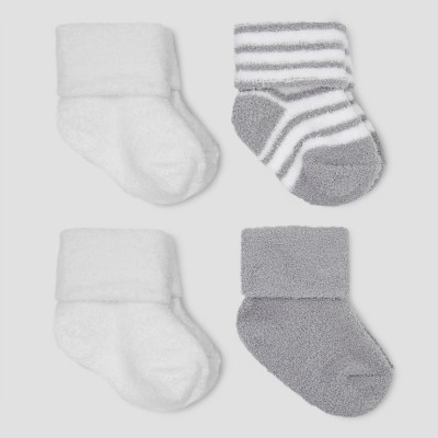 Baby Boys' 4pk Chenille Socks - Just One You® made by carter's Gray/White 3-12M