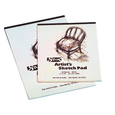 Sax Sulphite Artists Sketch Pad, 60 lbs, 11 x 14 Inches, White, 50 Sheets