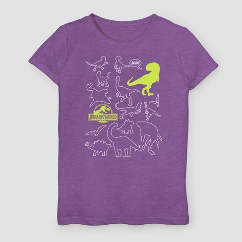Girls' Jurassic World Fallen Kingdom Dinosaur Doodle T-Shirt - Purple - image 1 of 2