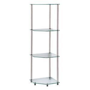 "46.5"" Classic Glass 4 Tier Corner Shelf Clear Glass - Breighton Home"