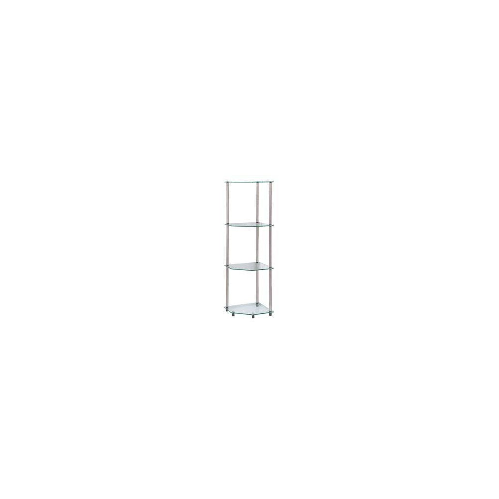 Image of Designs2Go Classic Glass 4 Tier Corner Shelf Glass - Johar Furniture