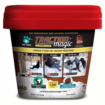 Traction Magic Quick Application All Natural Ice and Snow Melt Granule Crystals for Sidewalks, Driveways, Parking Lots, 15 Pound Bucket