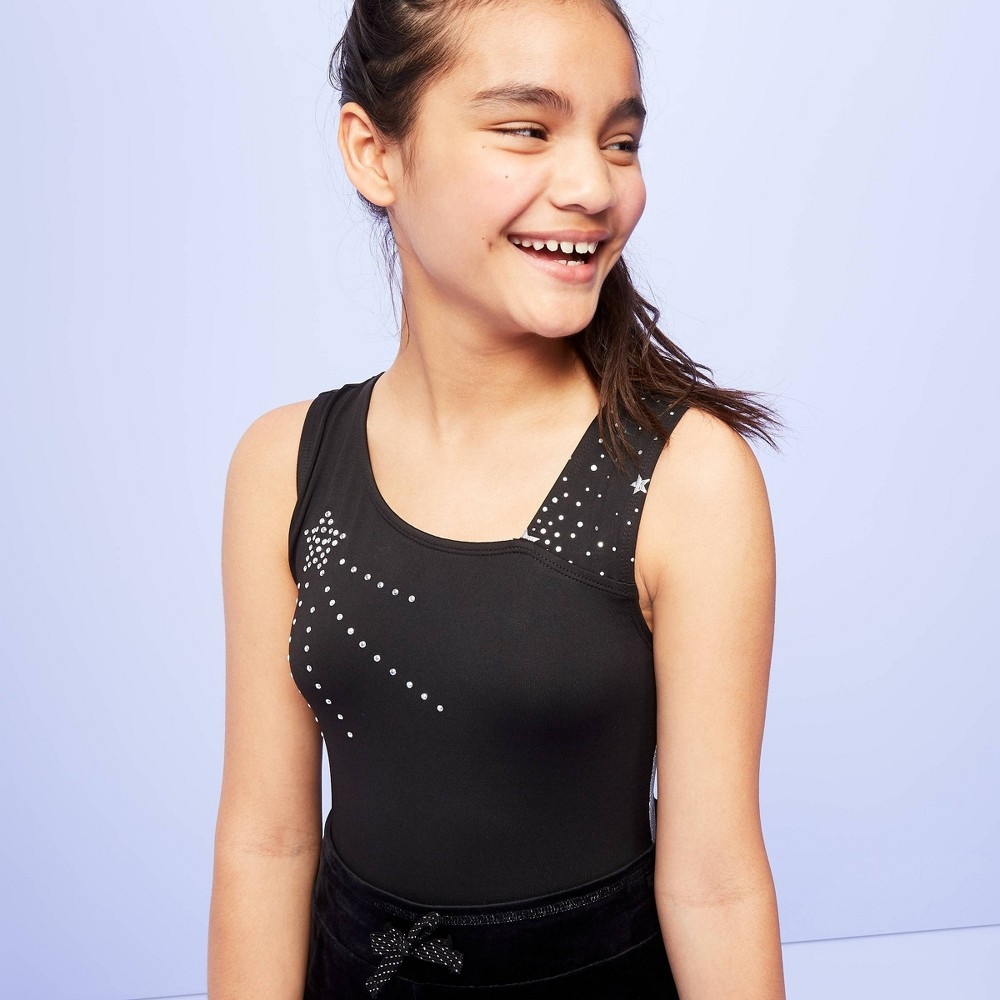 Image of Girls' Celestial Star Gymnastics Leotard - More Than Magic Black L, Girl's, Size: Large