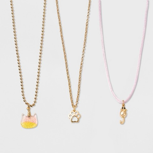 Girls' 3 Layered Cat Necklace - Cat & Jack™ One Size - image 1 of 2