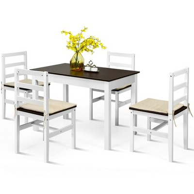 Costway 5pcs Dining Set Solid Wood Compact Kitchen Table & 4 Chairs Modern
