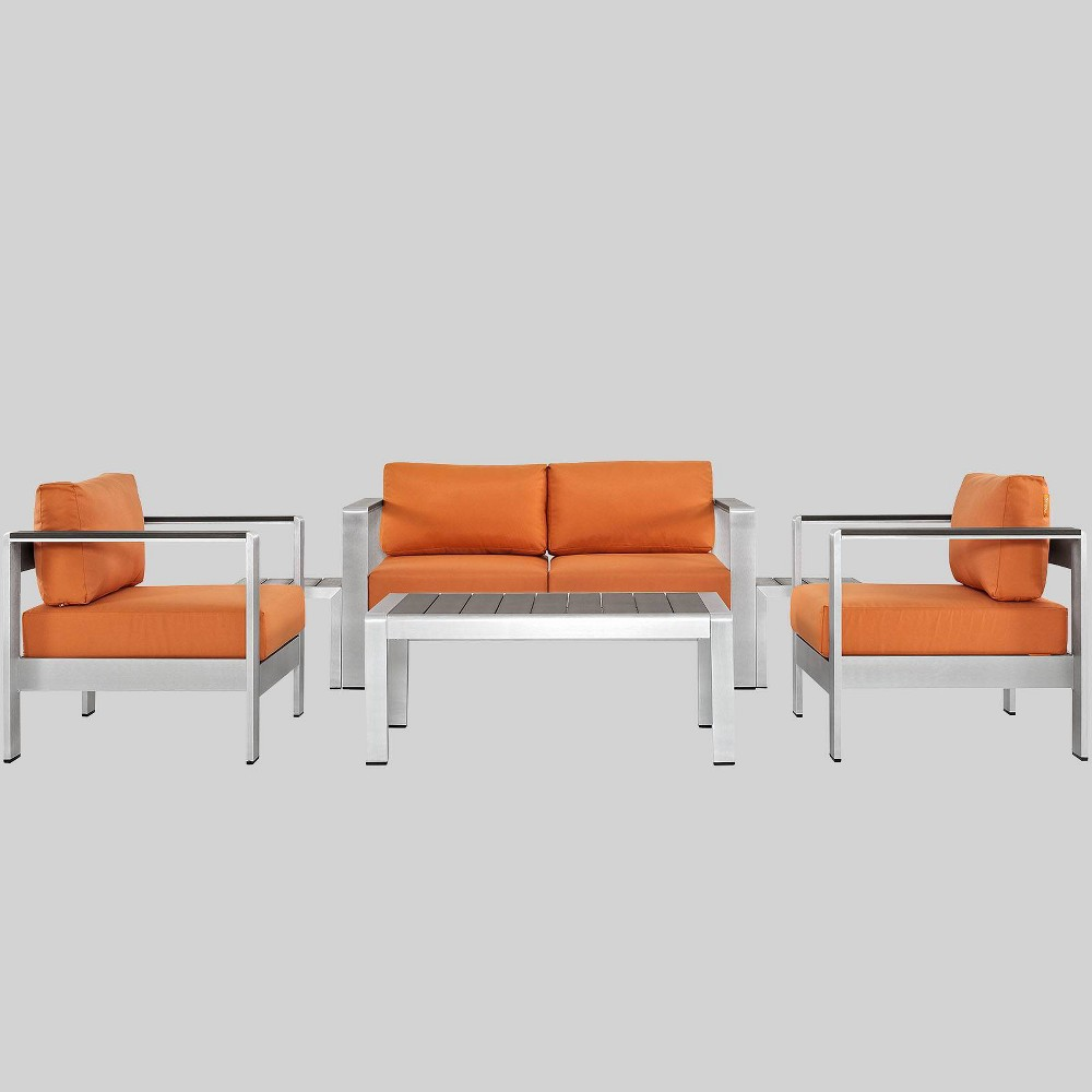 Shore 6pc Outdoor Patio Aluminum Sectional Sofa Set - Orange - Modway