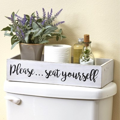 Lakeside Toilet Tank Topper Tray - Please Seat Yourself - Novelty Bathroom Decor : Target