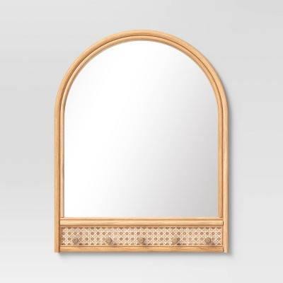 "18"" x 24"" Rattan and Caning Decorative Wall Mirror with Hooks - Opalhouse™"