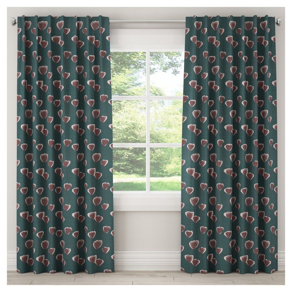 Unlined Poppy Floral Curtain Panel Turquoise (50