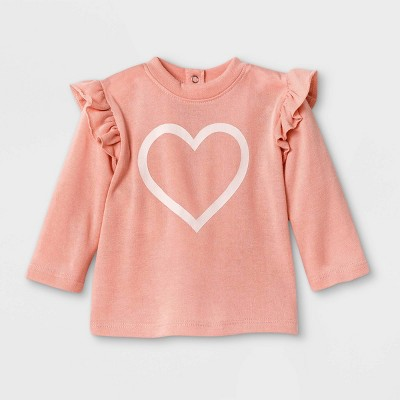 Grayson Mini Baby Girls' Heart Sweatshirt - Pink 0-3M