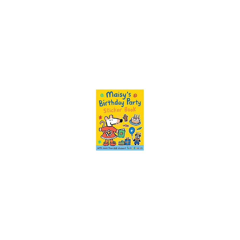 Maisy's Birthday Party Sticker Book (Paperback) (Lucy Cousins) It?s time to party with Maisy in this brand-new sticker book! Maisy?s fans are invited to take their place at her party, using stickers to fill in the details on every page. There are prizes to add to the treasure hunt, party bags to fill, a room to decorate with balloons and streamers, and a special dress to pick out for the star. Happy birthday to Maisy!