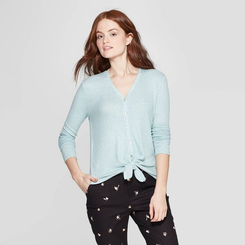 Women's Long Sleeve V-Neck Rib Knit Button Front Top - A New Day™ - image 1 of 3