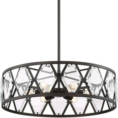 """Regency Hill Bronze Pendant Chandelier 26"""" Wide Modern Drum Clear Crystal 6-Light Fixture for Dining Room House Kitchen Entryway"""