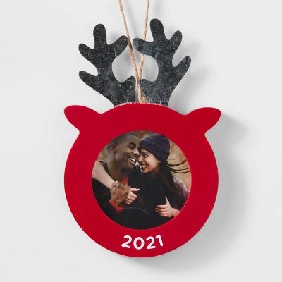 Wood Reindeer Photo Frame Christmas Tree Ornament Red - Wondershop™