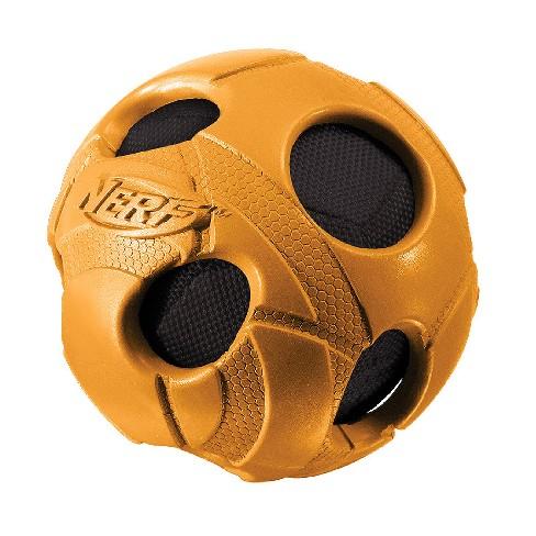 """NERF Bash Squeak Crunch Ball Dog Toy - Blue/Orange - 3"""" - image 1 of 4"""