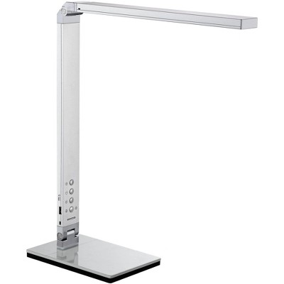 "360 Lighting Modern Desk Table Lamp 16 1/2"" High with USB Port and Nightlight LED Silver Touch Dimmer for Bedroom Bedside Office"