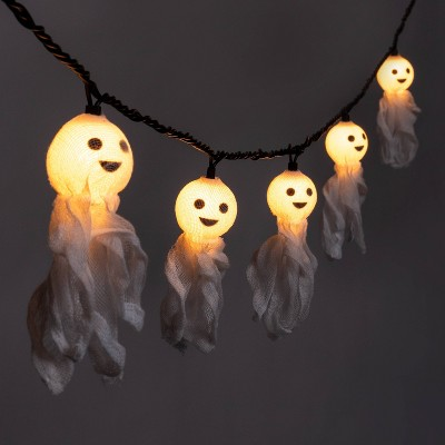 10ct Incandescent Fabric Ghost Halloween String Lights - Hyde & EEK! Boutique™