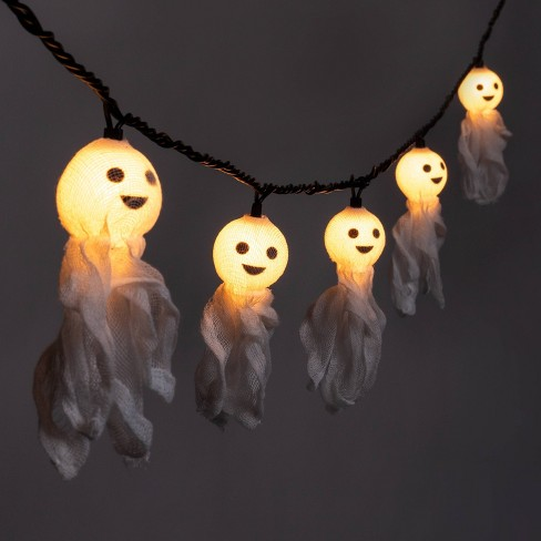 10ct Incandescent Fabric Ghost Halloween String Lights - Hyde & EEK! Boutique™ - image 1 of 4