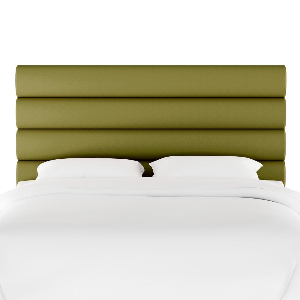 Full Horizontal Channel Headboard Green Velvet - Opalhouse