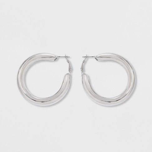 Leverback Hollow Hoop Earrings - Wild Fable™ Shiny Silver - image 1 of 4