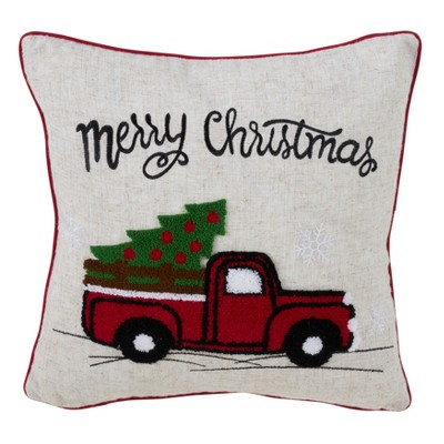 Vintage Red Truck Holiday Square Throw Pillow Tan - Saro Lifestyle