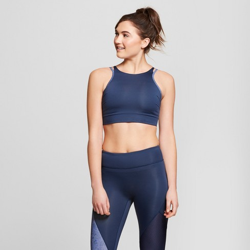 Women's High Neck Sports Bra with Back Cut Out - JoyLab™ Navy - image 1 of 2