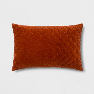 Hand-Quilted Velvet With Zipper Closure Lumbar Throw Pillow Orange - Threshold™