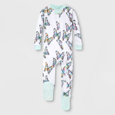 Burt's Bees Baby® Baby Girls' Organic Cotton Butterflies Footed Pajama - Green 3-6M