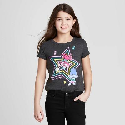 Girls' Trolls 2 Short Sleeve T-Shirt - Charcoal