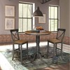 "36"" Lourda Round Pedestal Bar Height Table with 2 X Back Bar Stools Hickory Brown - International Concepts - image 2 of 4"