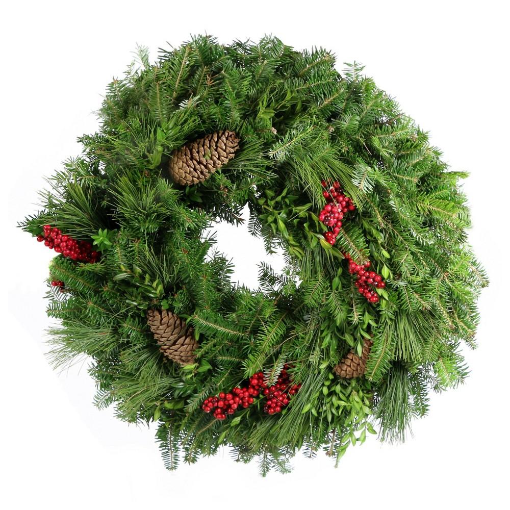 "Image of ""24"""" Live Fresh Cut Carolina Wreath - Cottage Hill"""