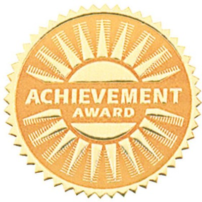 Hammond & Stephens Achievement Award Gold Foil Embossed Seal, pk of 54