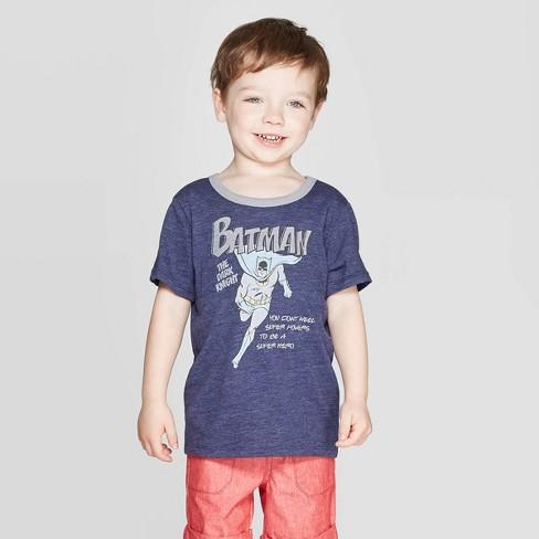 Toddler Boys' DC Comics Dark Knight Batman Short Sleeve T-Shirt - Navy - image 1 of 3
