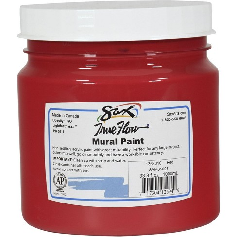 Sax True Flow Acrylic Mural Paint, 33.8 oz Plastic Container, Red - image 1 of 3