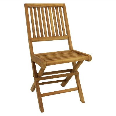Nantasket Solid Teak Outdoor Folding Patio Dining Chair - Sunnydaze Decor