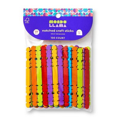 100ct Notched Craft Sticks - Mondo Llama™