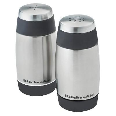 KitchenAid Salt and Pepper Stainless Steel Shakers Black Rim