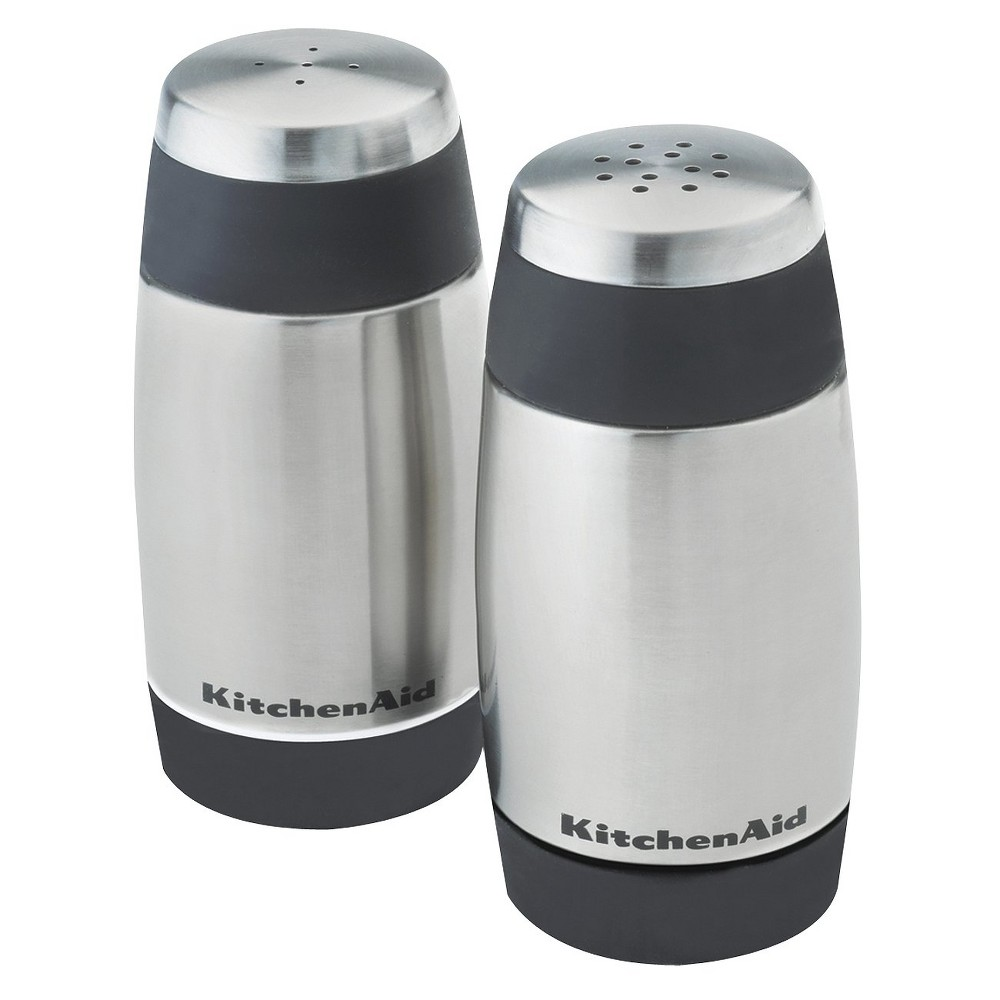 KitchenAid Salt and Pepper Stainless Steel Shakers Black Rim, Multi-Colored