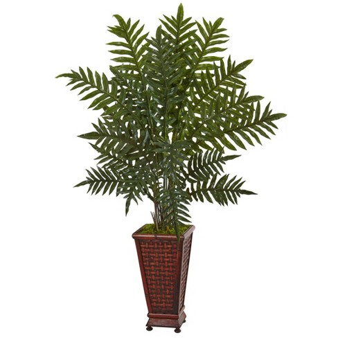 4ft Artificial Evergreen Plant in Round Wood Planter Green/Brown - Nearly Natural - image 1 of 1