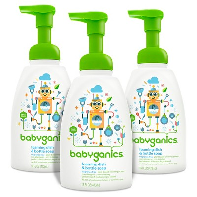 Babyganics Foaming Dish & Bottle Soap, Fragrance Free - 16 oz (3pk)