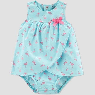 Baby Girls' Flamingo Print One Piece Sunsuit/Sundress - Just One You® made by carter's Blue/Pink 3M