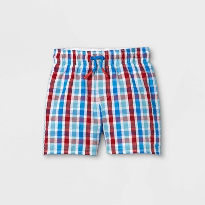 Toddler Boys' Plaid Seersucker Swim Trunks - Cat & Jack™ White