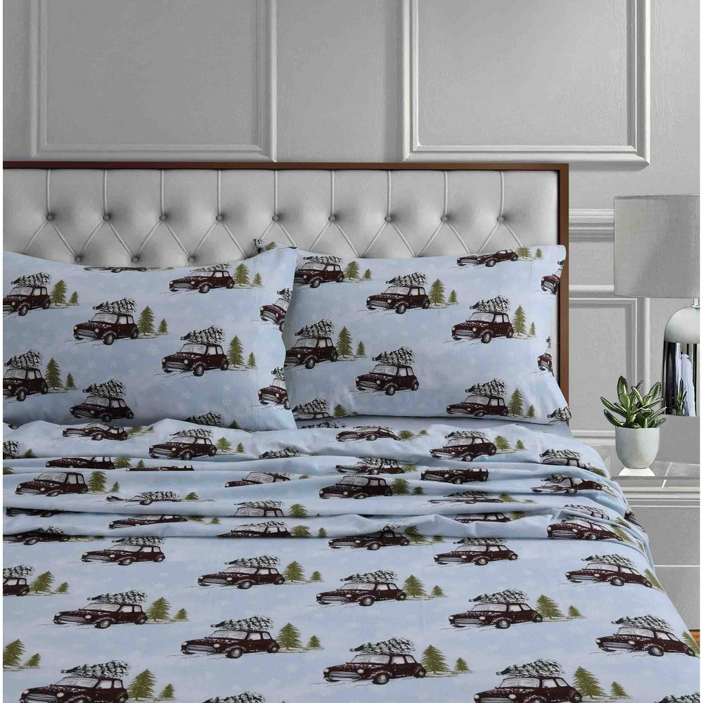 Twin Printed Pattern Extra Deep Pocket Cotton Flannel Sheet Set Blue Winter Outing Tribeca Living
