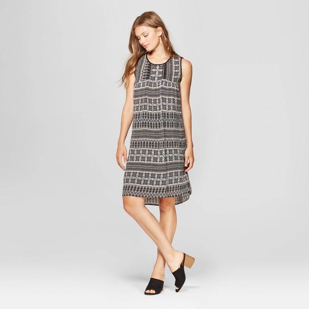 Image of Women's Sleeveless Trimmed Printed Dress - John Paul Richard - Black/Tan L, Women's, Size: Large