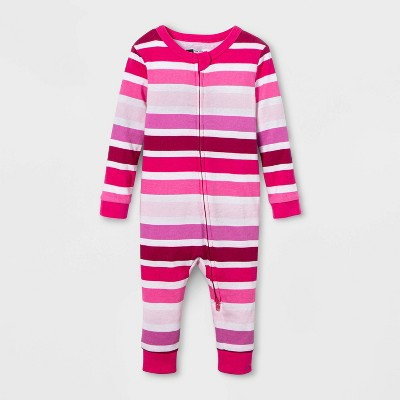 Baby Striped Union Suit - Pink 3-6M