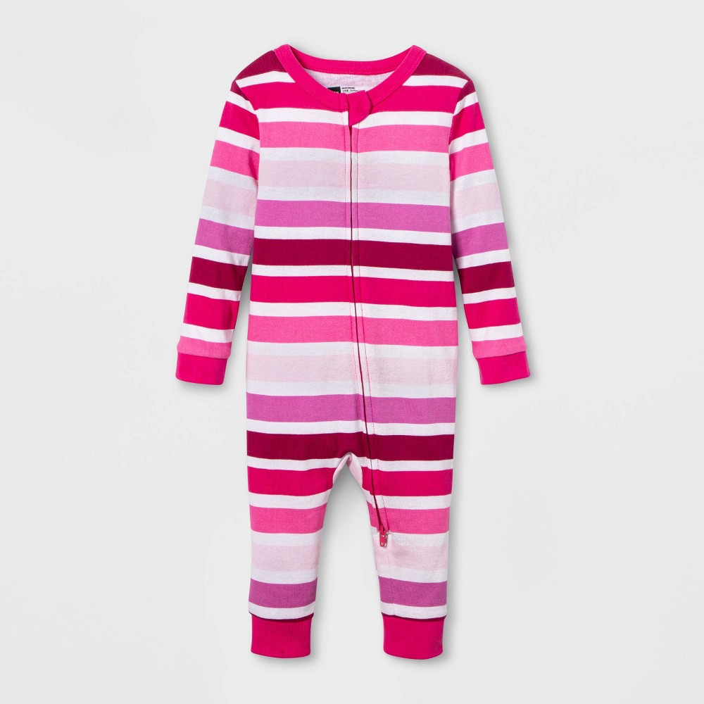 Image of Baby Striped Union Suit - Pink 3-6M, Adult Unisex