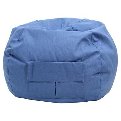 Gold Medal Kids Bean Bag Chair Denim Look With Cargo Pocket   Blue