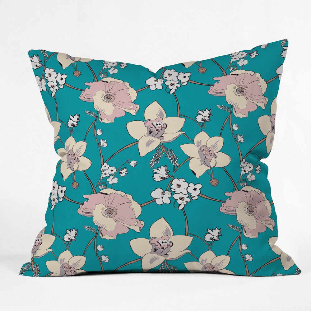 Rachelle Roberts Painted Poppy Square Throw Pillow Blue - Deny Designs